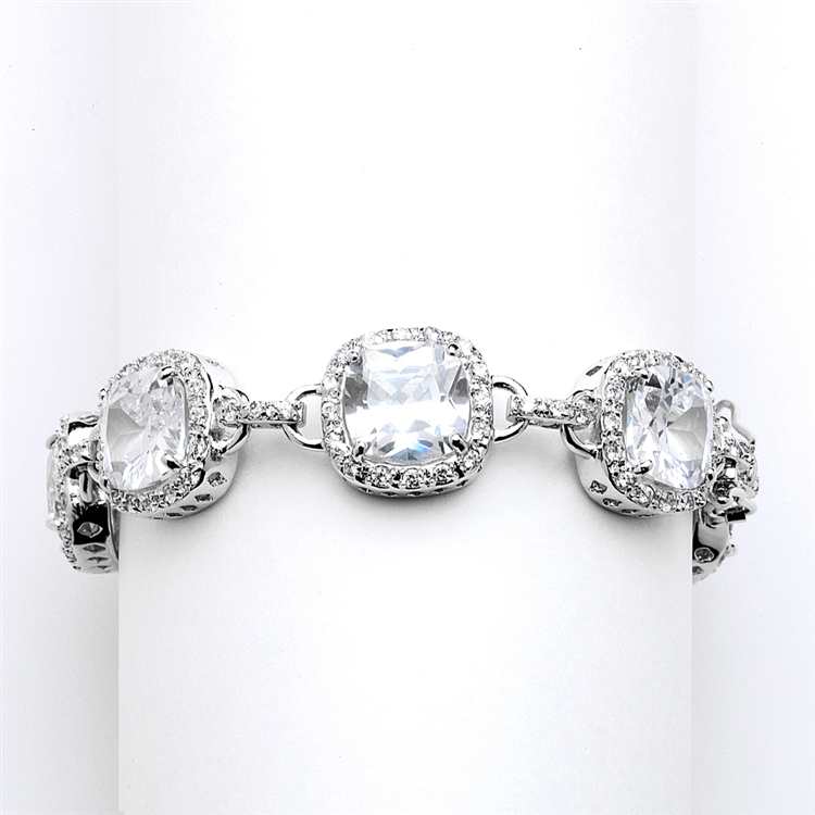 Magnificent Cushion Cut Cubic Zirconia Wedding or Pageant Bracelet<br>4069B-S-7