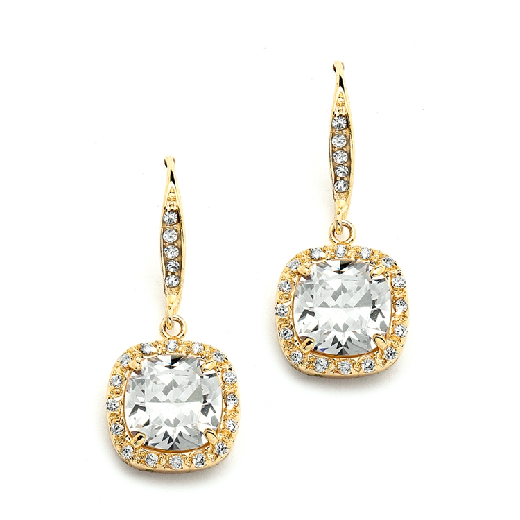 Magnificent Cushion Cut Cubic Zirconia Wedding or Pageant Earrings in 14K Gold<br>4069E-G
