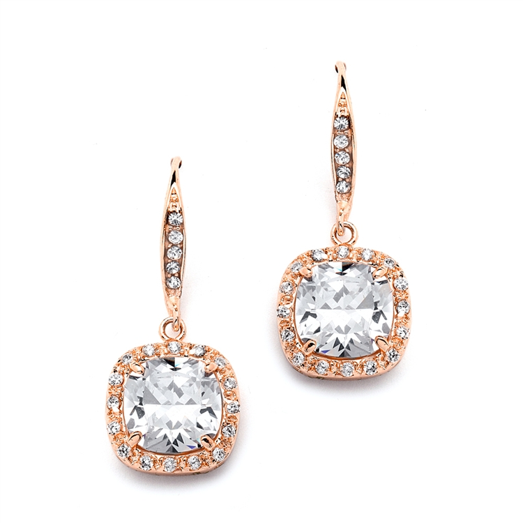 Magnificent Cushion Cut Cz Bridal Or Pageant Earrings In Rose Gold Br 4069e