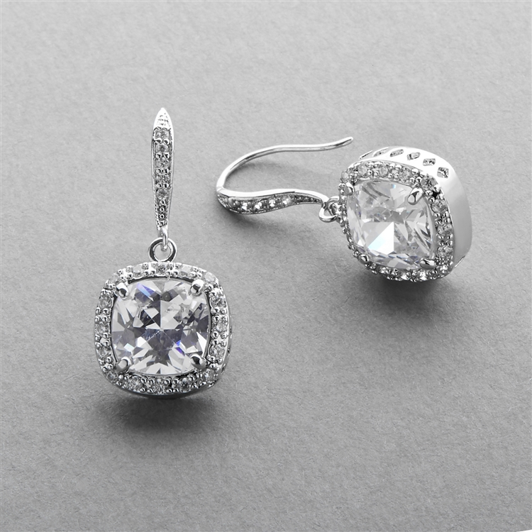 Magnificent Cushion Cut Cubic Zirconia Wedding or Pageant Earrings in Platinum Silver<br>4069E-S
