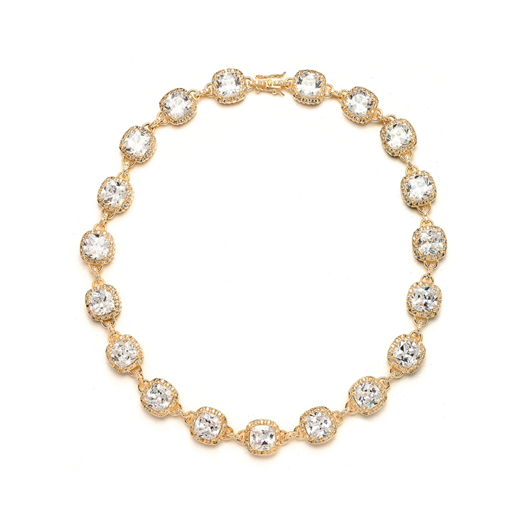 Luxurious Cushion Cut CZ Necklace<br>4069N-G