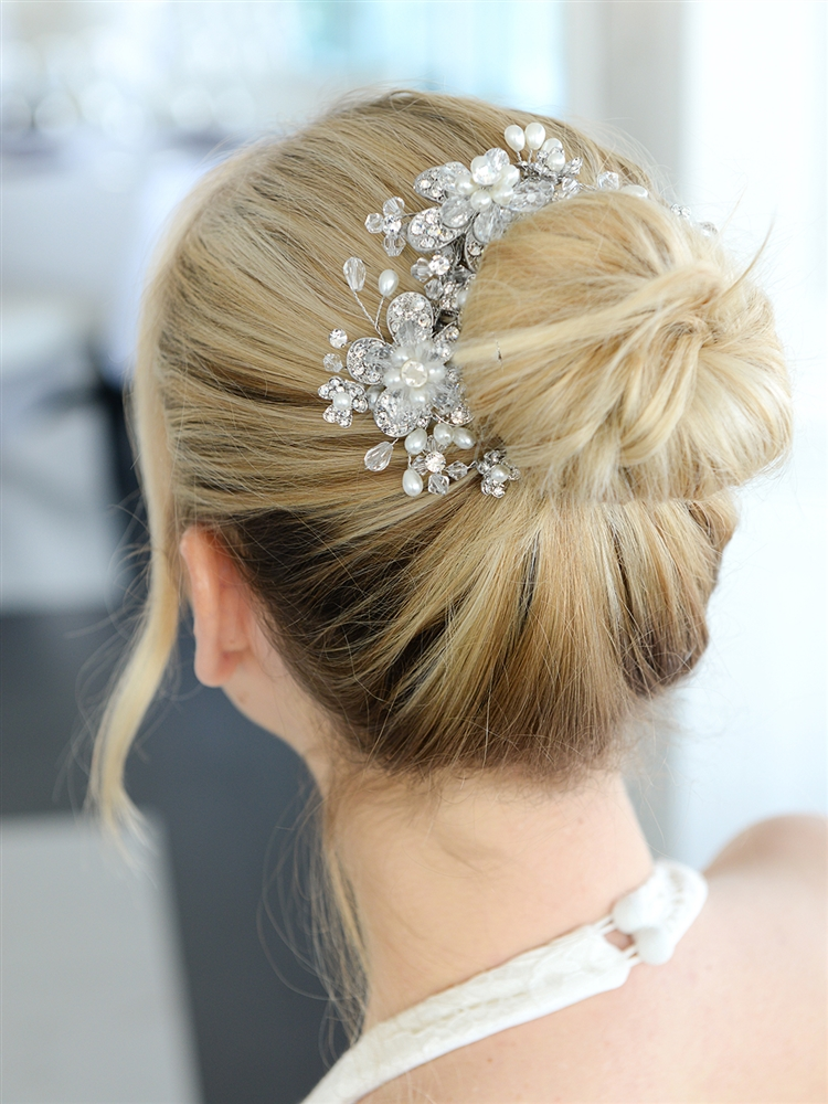 Fabulous Wedding or Brides Hair Comb with Pearl and Crystal Sprays<br>4071HC