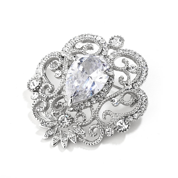 Vintage Cubic Zirconia Brooch with Teardrop<br>4072P