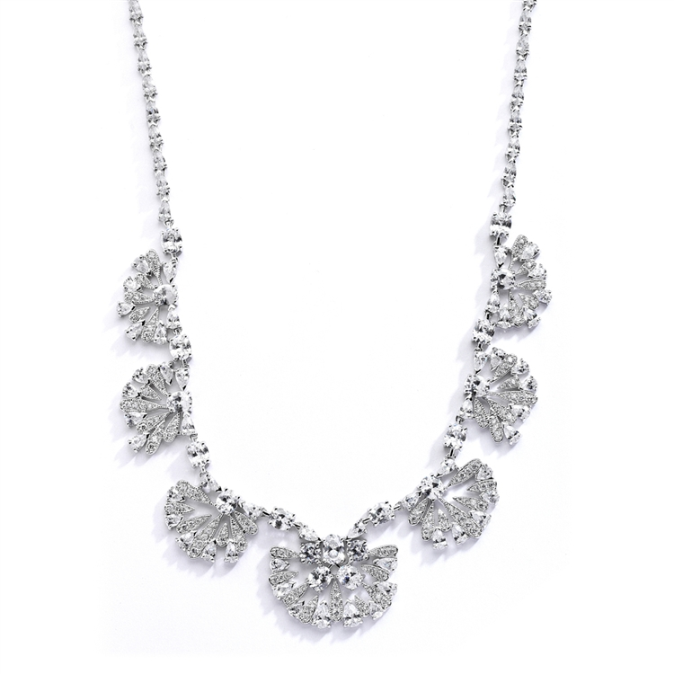 "Art Deco ""Fan"" Design Cubic Zirconia Wedding Necklace<br>4073N"