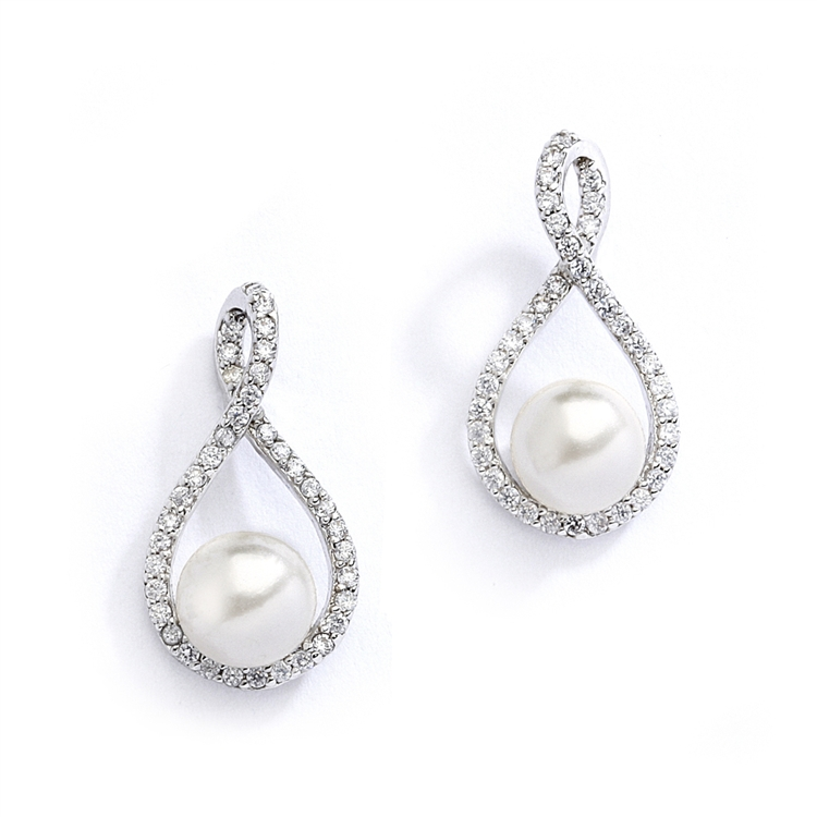 Eternity Symbol  Cubic Zirconia Wedding Earrings with Pearl<br>4075E