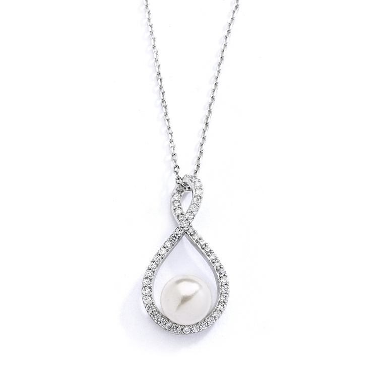 Eternity Symbol  Cubic Zirconia Wedding Necklace with Pearl<br>4075N