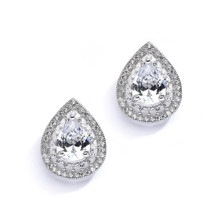 Designer Micro Pave Cubic Zirconia Bridal or Mother of the Bride Earrings<br>4076E