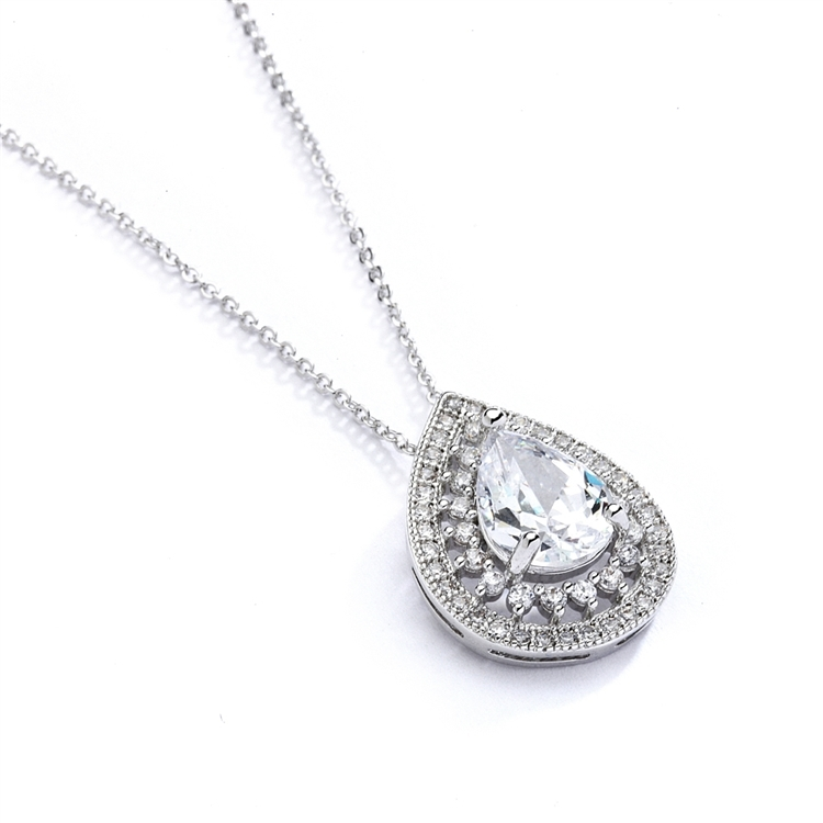 Designer Micro Pave Cubic Zirconia Bridal or Mother of the Bride Pendant<br>4076N