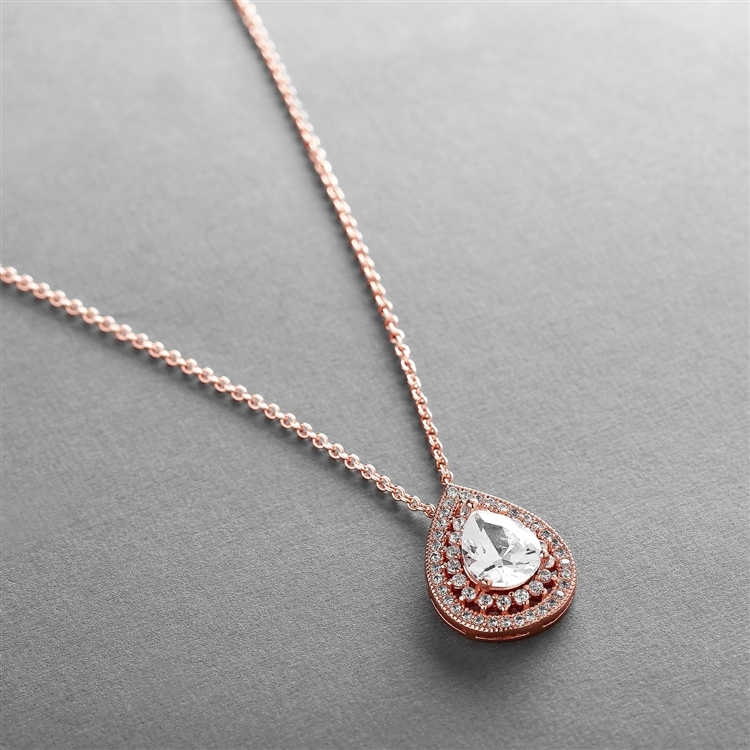 Designer Rose Gold Micro Pave Cubic Zirconia Bridal or Mother of the Bride Pendant<br>4076N-RG