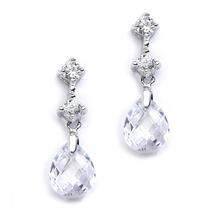 CZ Bridal or Bridesmaids Earrings with Clear Crystal Drops<br>4078E-CR