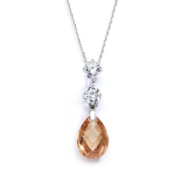 CZ Bridal or Bridesmaids Necklace Pendant with Champagne Crystal Drop<br>4078N-CH