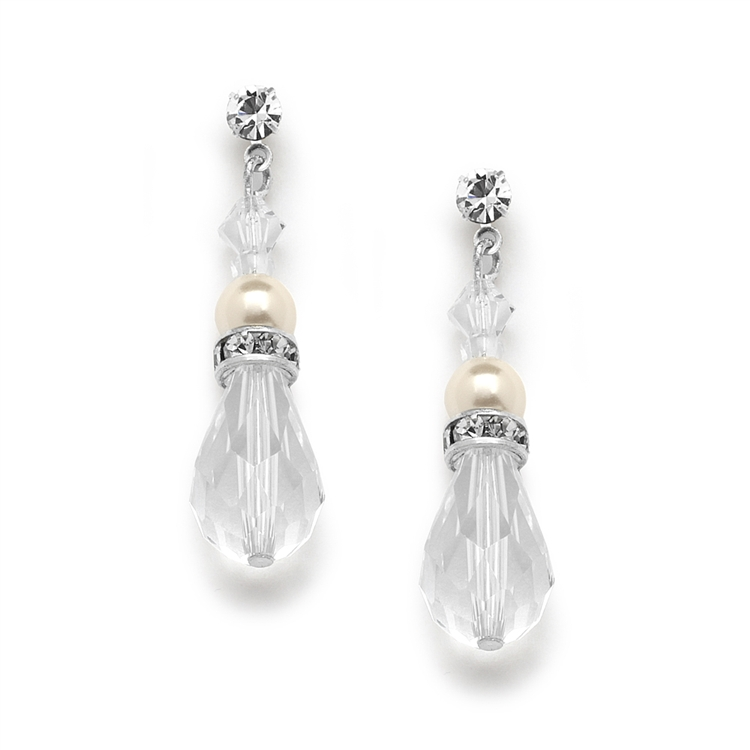 Crystal Teardrop Wedding, Prom or Bridesmaids Earrings<br>4079E-I-CR-S
