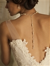 Alluring Wedding Back Necklace with Pearls & Crystals<br>4079N-I-CR-S