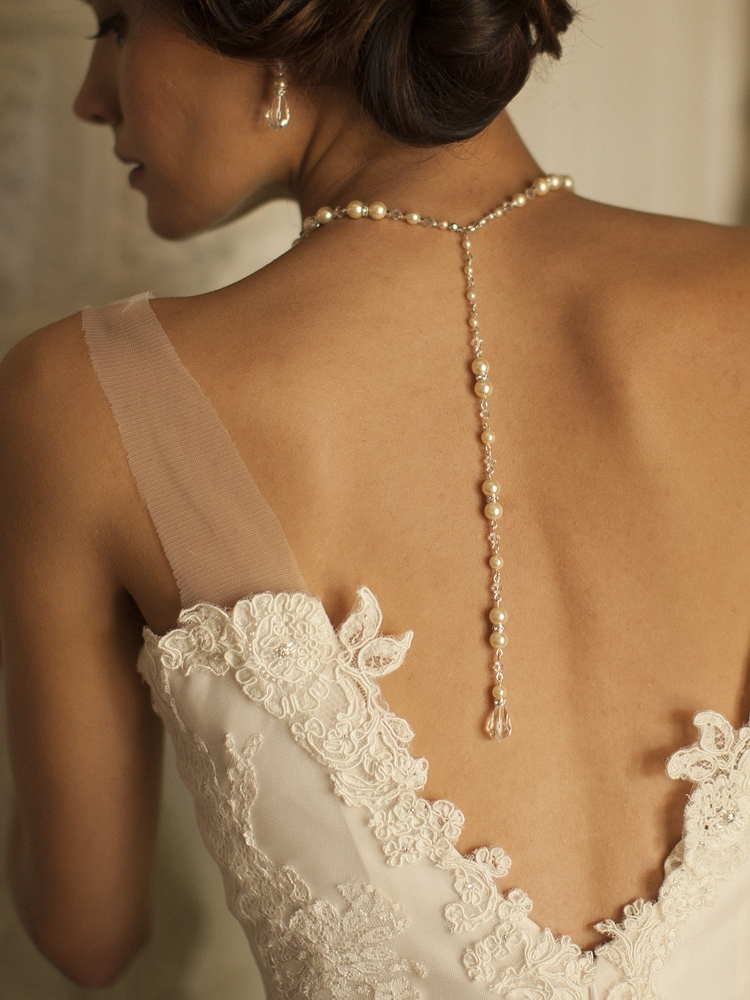 3ee75e8732d88 Alluring Wedding Back Necklace with Pearls & Crystals - Mariell ...