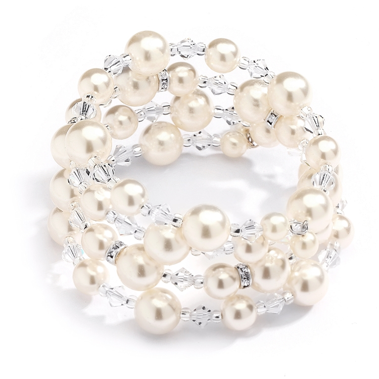 Mariell Handmade Ivory Glass Pearl Wrap Around Wedding Bridal Bracelet - Coil Cuff with Crystal Accents