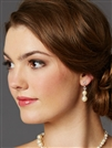 Light Ivory Glass Pearl Bridal Earrings with Rondels & Stud Top<br>4080E-LTI-CR-S