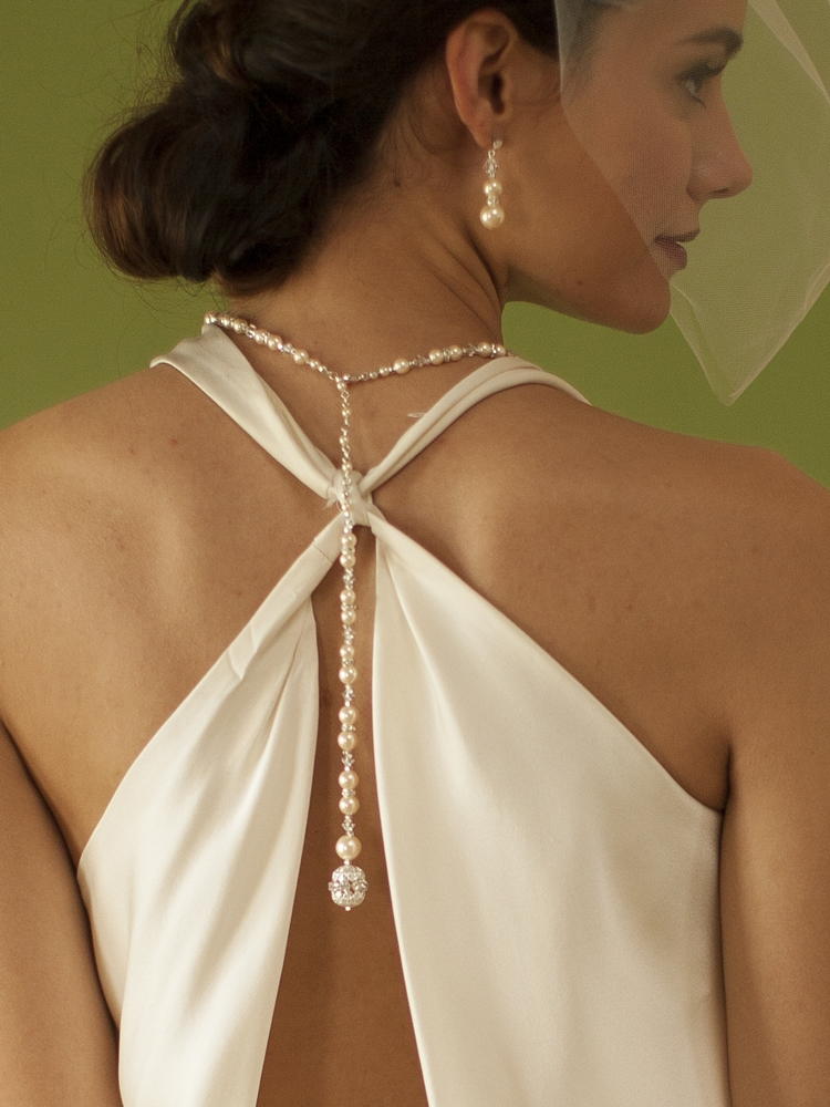 White Pearl & Crystal Long Back Necklaces for Bridal, Bridesmaids & Prom<br>4080N-W-CR-S