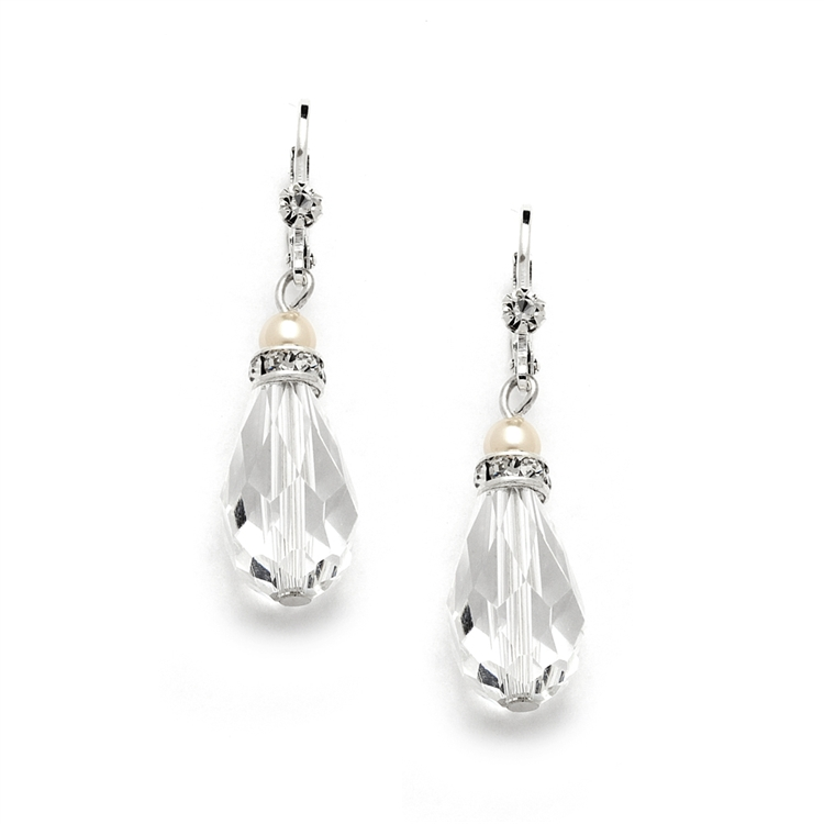 Euro Wire with Crystal Teardrop Bridal, Prom  or Bridesmaids Earrings<br>4081E-I-CR-S