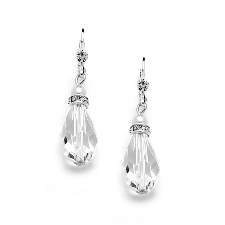 Euro Wire with Crystal Teardrop Bridal, Prom  or Bridesmaids Earrings<br>4081E-W-CR-S