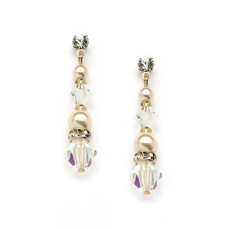 Pearl & Crystal Gold Dangle Earrings for Weddings, Bridesmaids or Prom<br>4082E-I-AB-G