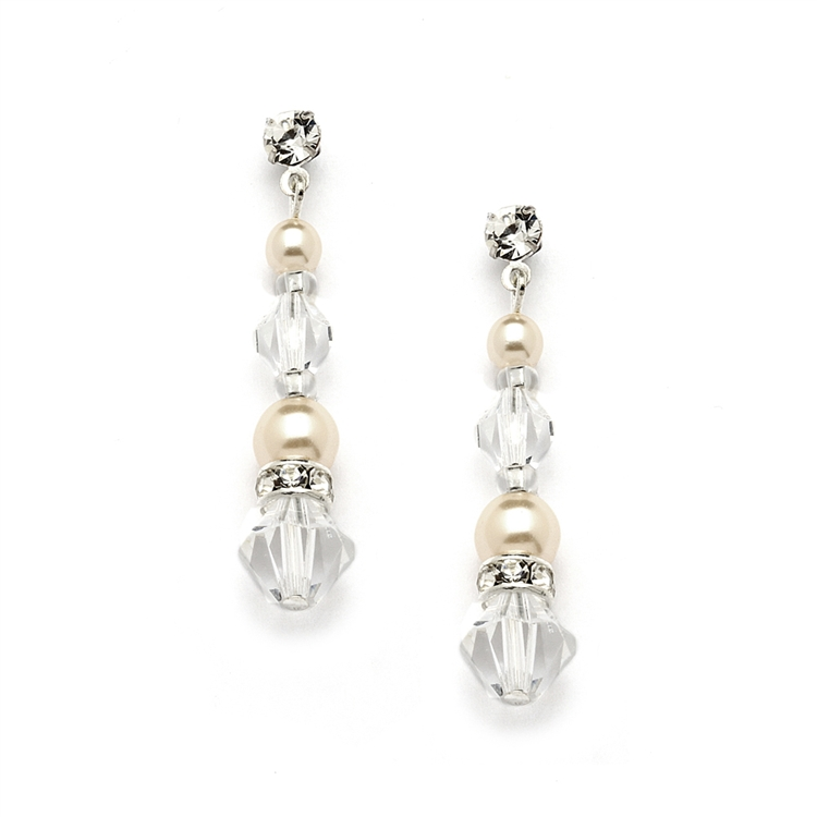 Pearl & Crystal Dangle Earrings for Weddings, Bridesmaids or Prom<br>4082E-I-CR-S