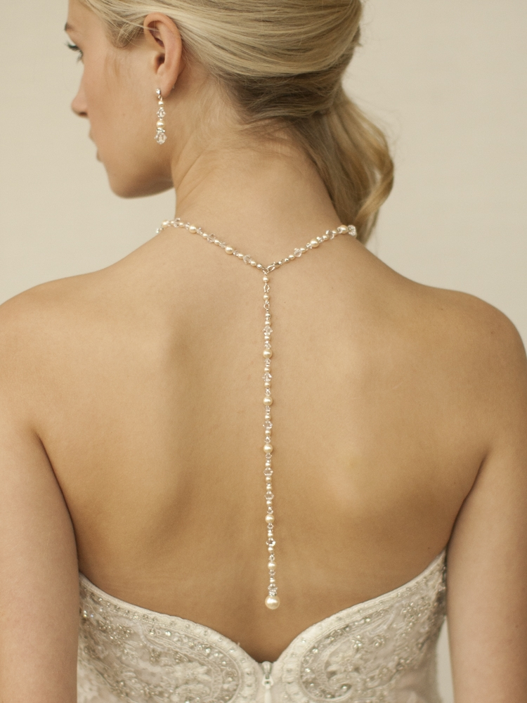 Top Selling Crystal & Pearl Back Necklace for Weddings & Proms<br>4082N-I-CR-S