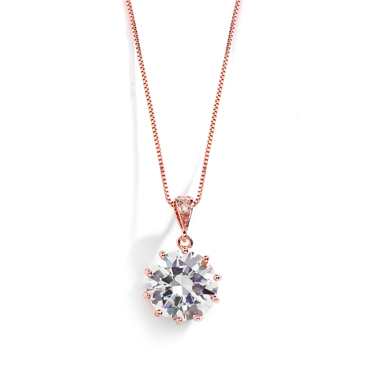 Bridal, Prom or Bridesmaids Bling CZ Necklace Pendant<br>4083N-RG