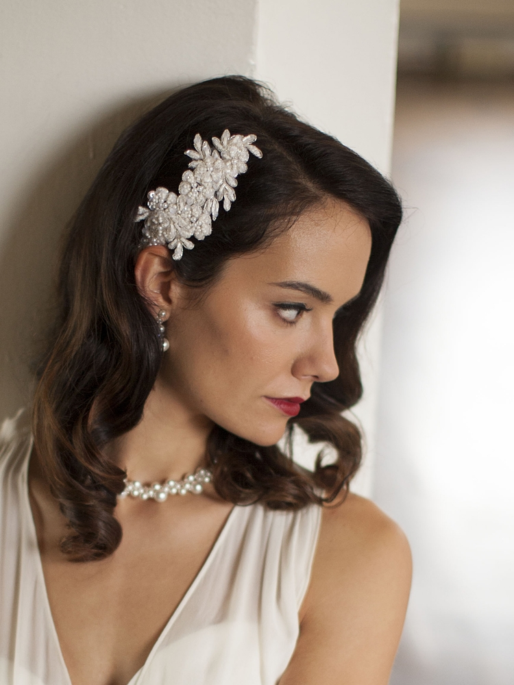 Top Selling Ivory Beaded Lace Applique Wedding Comb<br>4087HC-I