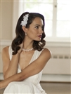Top Selling White Beaded Lace Applique Wedding Comb<br>4087HC-W