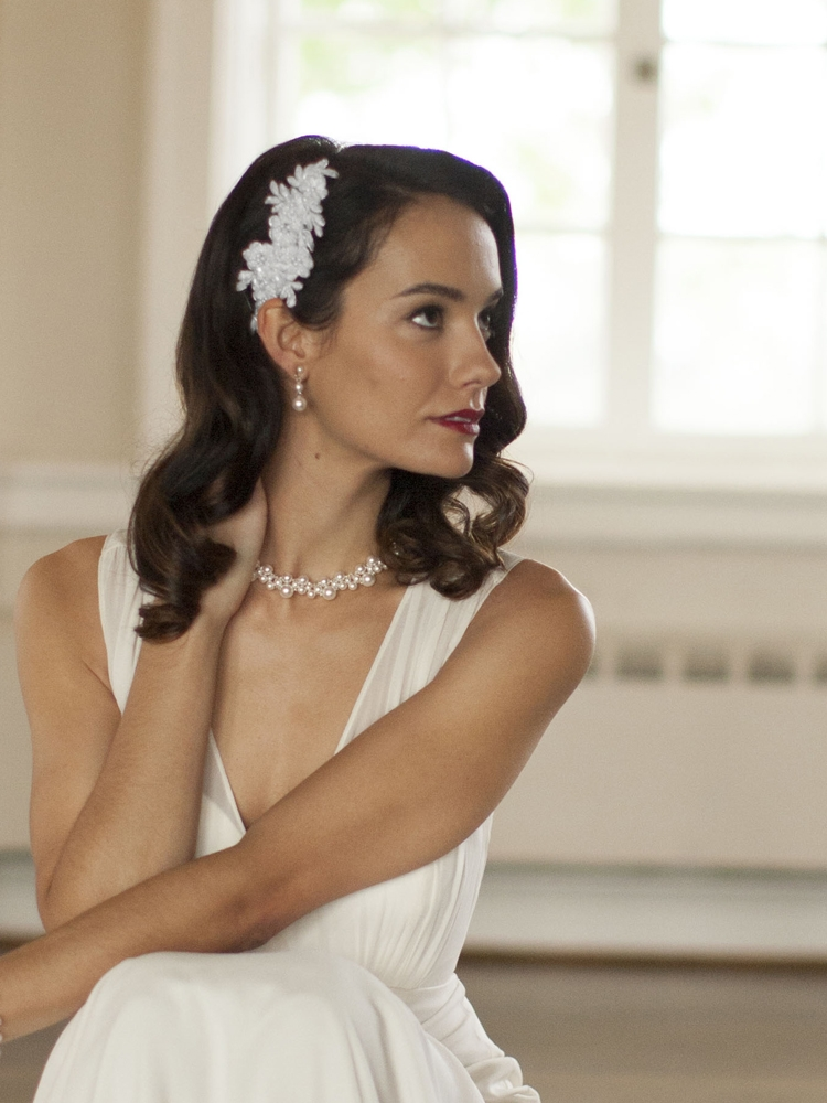 Top Selling Beaded Lace Applique Wedding Comb