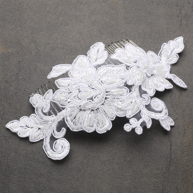 Romantic English Rose White Lace Bridal Comb<br>4089HC-W