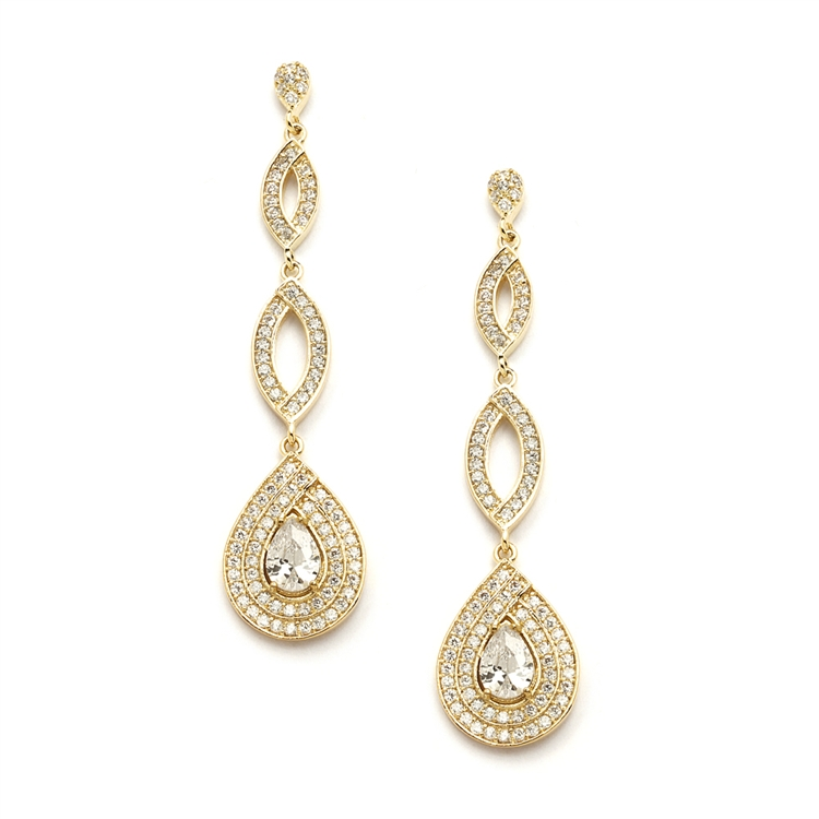 Gold Micro pave Cubic Zirconia Teardrop Wedding Earrings<br>4092E