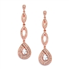 Rose Gold Micro pave Cubic Zirconia Teardrop Wedding Earrings<br>4092E-RG