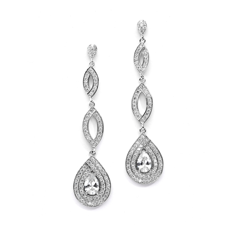 Silver Micro pave Cubic Zirconia Teardrop Wedding Earrings<br>4092E-S