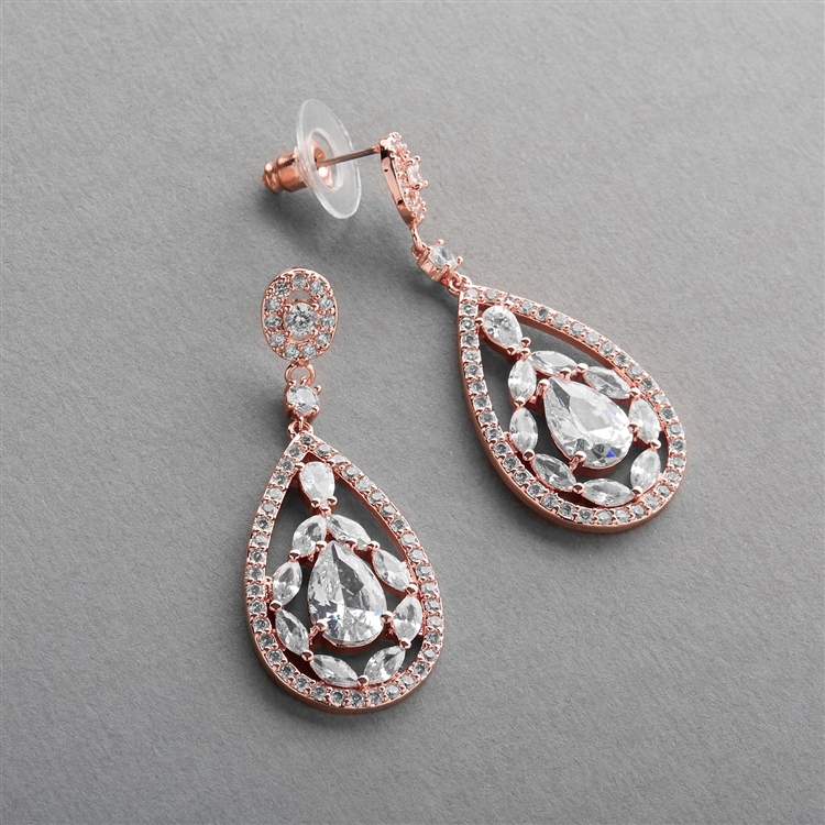 Gold Cubic Zirconia Mosaic Teardrop Bridal, Prom or Wedding Earrings<br>4093E-RG