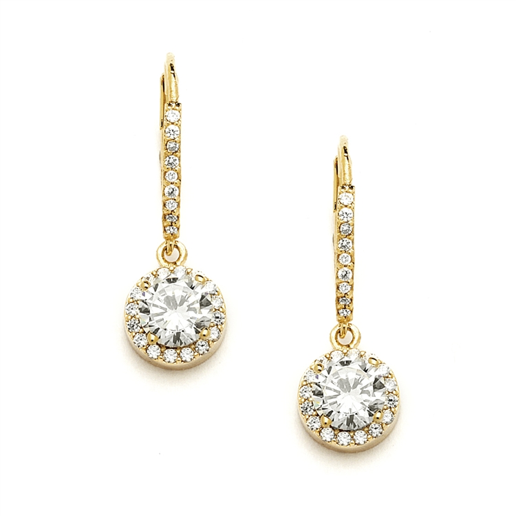 Delicate Cubic Zirconia Gold Pave Drop Bridal  Earrings<br>4095E