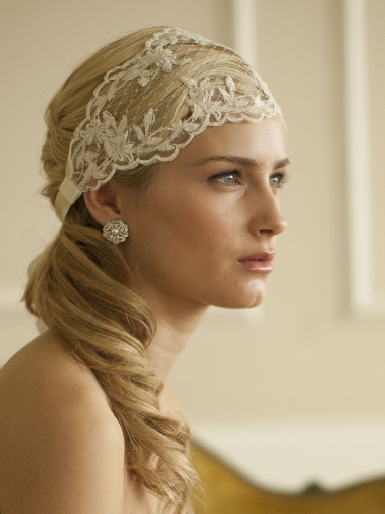 Ivory Split Lace Ribbon Wedding Headband with French Netting<br>4098HB-I