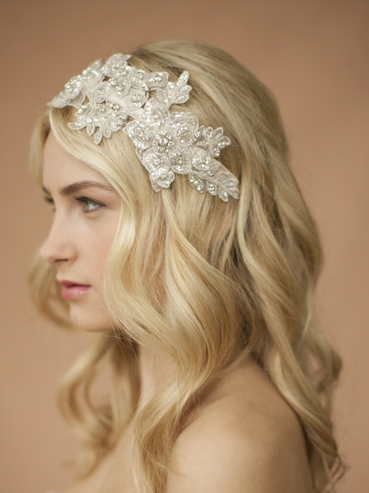 Sculptured Ivory Lace Wedding Headband with Crystals & Beads<br>4099HB-I