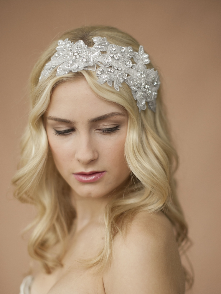 Sculptured White Lace Wedding Headband with Crystals & Beads<br>4099HB-W