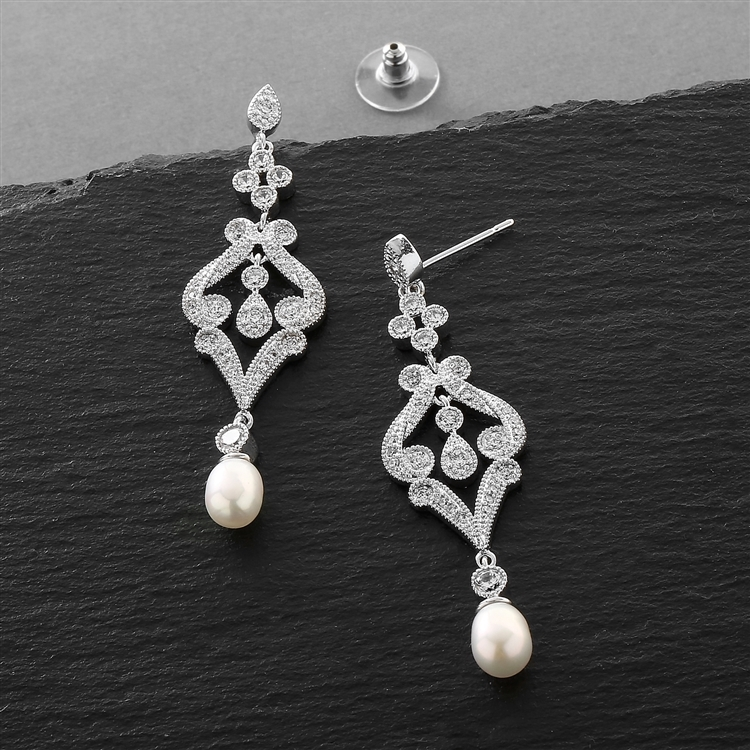 Vintage CZ Scroll Earrings with Freshwater Pearl<br>409E