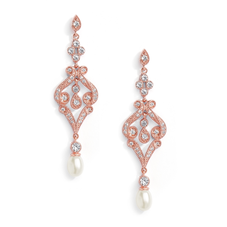 Rose Gold CZ Scroll Earrings with Freshwater Pearl<br>409E-RG