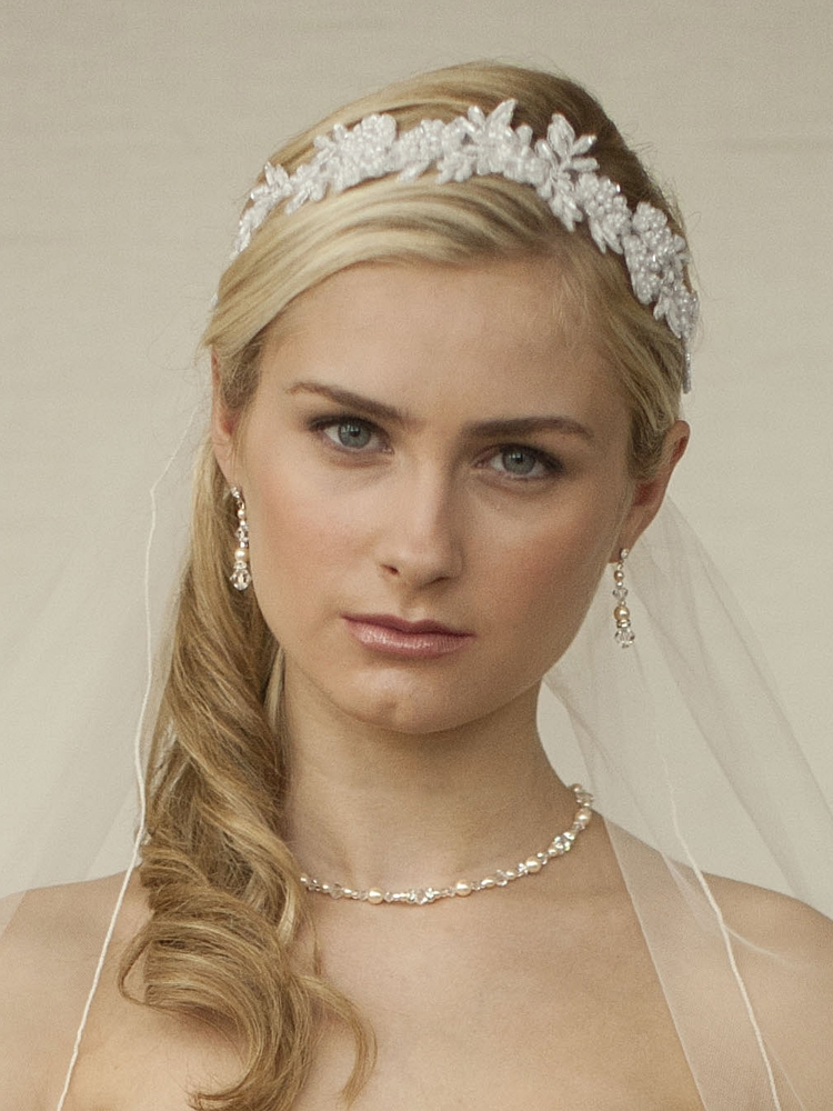 White Lace Applique Garden Wedding Headband with Meticulous Edging<br>4101HB-W