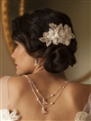 Sophisticated Handmade Bridal Comb with Ivory Beaded Floral Lace Applique<br>4102HC-I