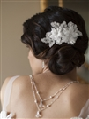 Sophisticated Handmade Bridal Comb with White Beaded Floral Lace Applique<br>4102HC-W