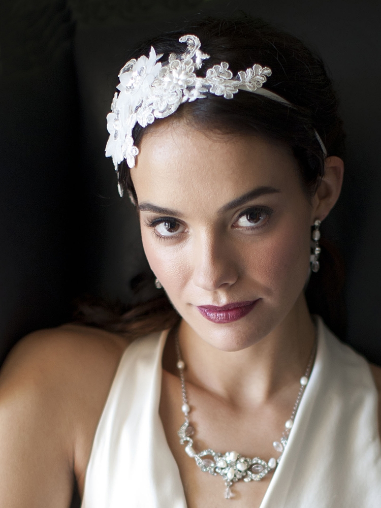 Luxurious White Lace Applique Wedding Ribbon Headband with Georgette Flowers<br>4106HB-W