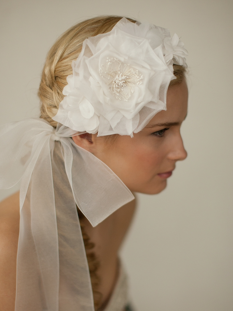 Handmade Ivory Silk Flower Bridal Headband with Wide Sheer Ribbon<br>4107HB-I