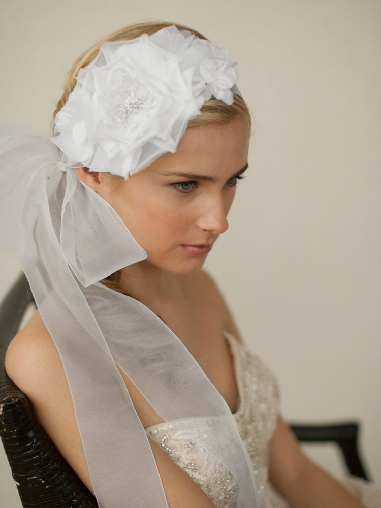 Handmade White Silk Flower Bridal Headband with Wide Sheer Ribbon<br>4107HB-W