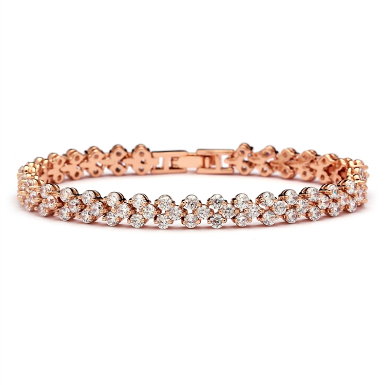 Elegant Rose Gold Cubic Zirconia Wedding or Prom Tennis Bracelet<br>4109B-RG-7