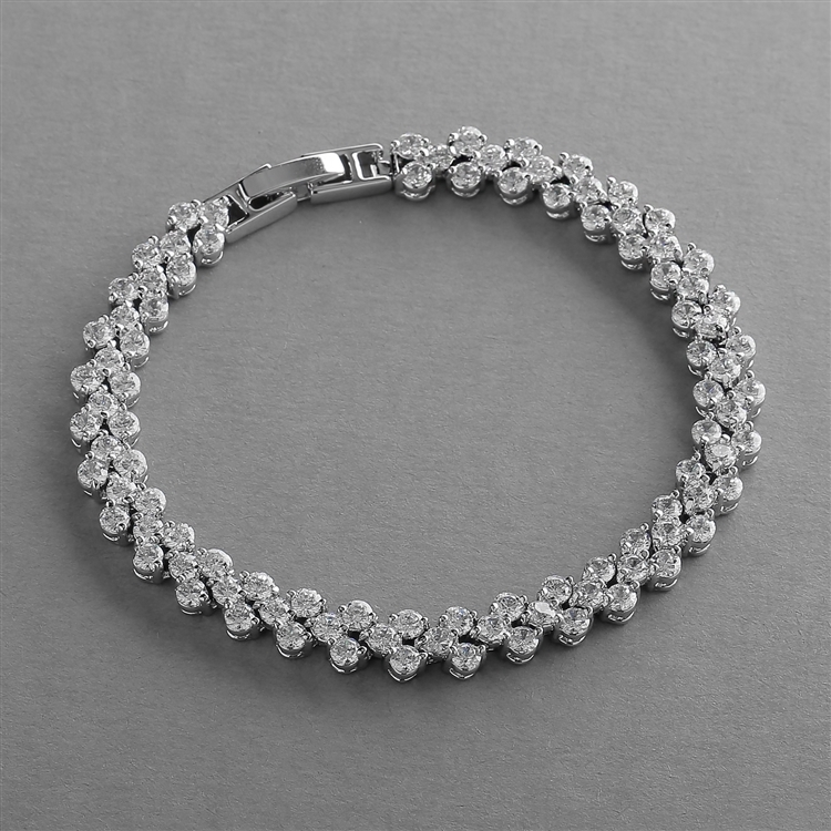 Petite Cubic Zirconia Wedding or Prom Tennis Bracelet<br>4109B-S-6