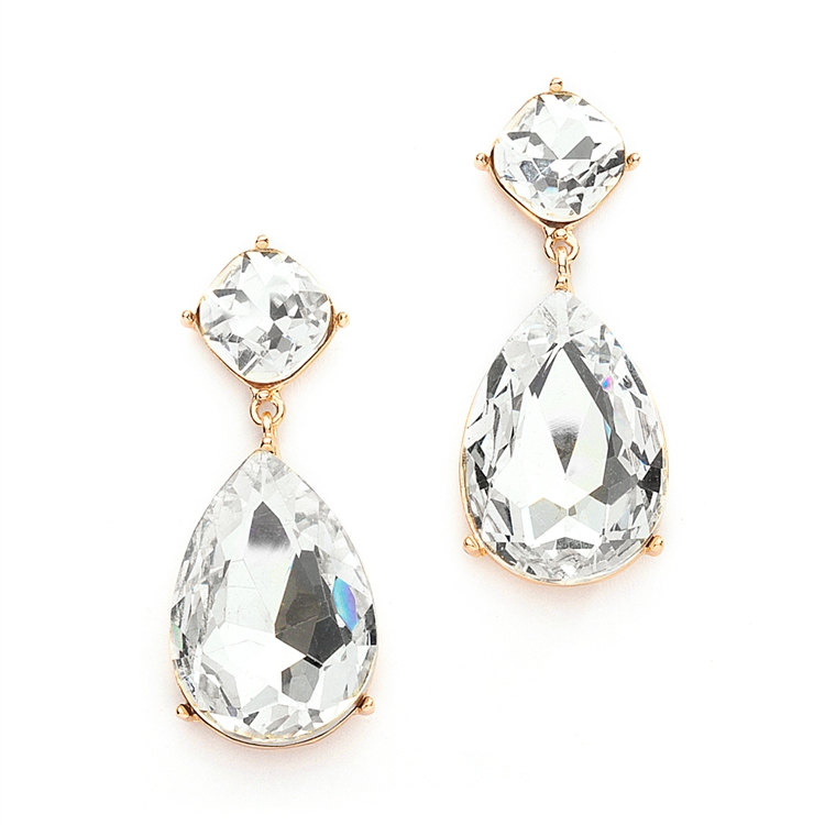Chunky Crystal Dangle Wedding or Prom Earrings set in Gold<br>4114E-CR-G
